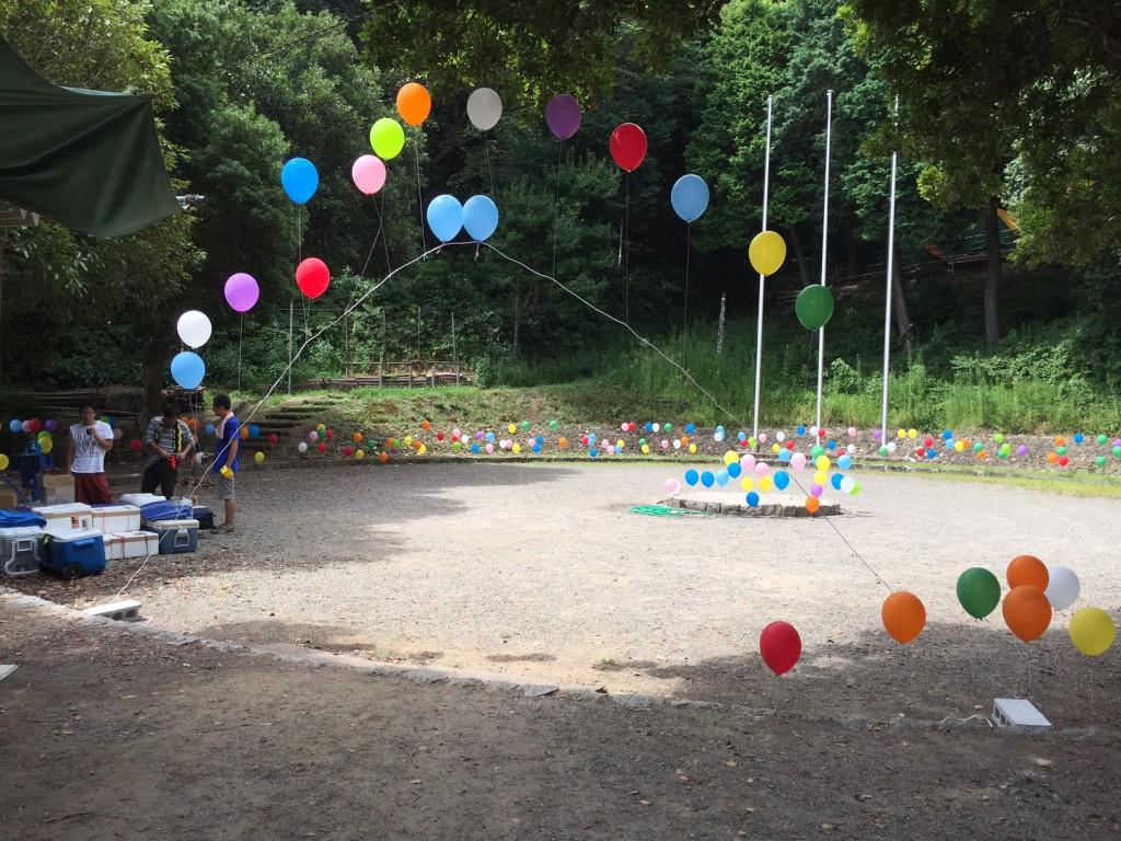 恵保育園キャンプ バルーンリリース
